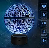 3D Illusion Licht, 7 Modelle Touch Control Optical Illusion LED Nachtlicht mit Ladekabel für Wohnkultur, Kinder, Star Wars Fans (Death Star)