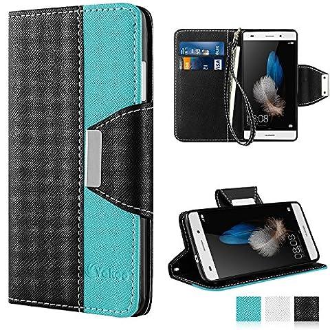 Huawei P8 Lite Hülle, Vakoo Huawei P8 Lite Handyhülle im Buchstyle Premium Kunstleder Tasche Flip Case Multifunktionale Etui Schutz Hülle für Huawei P8 Lite (Schwarz
