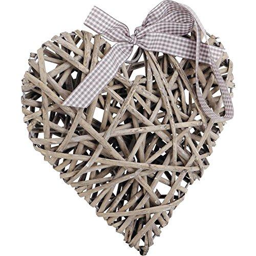 Décoration à suspendre coeur en osier gris