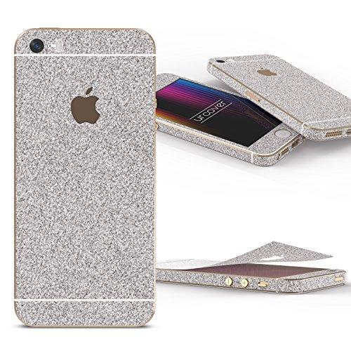 Urcover Glitzer-Folie zum Aufkleben kompatibel mit Apple iPhone SE/5/5s   Folie in Silber   Zubehör Glitzerhülle Handyskin Diamond Funkeln Schutzfolie Handy-Schutz Luxus Bling Glamourös