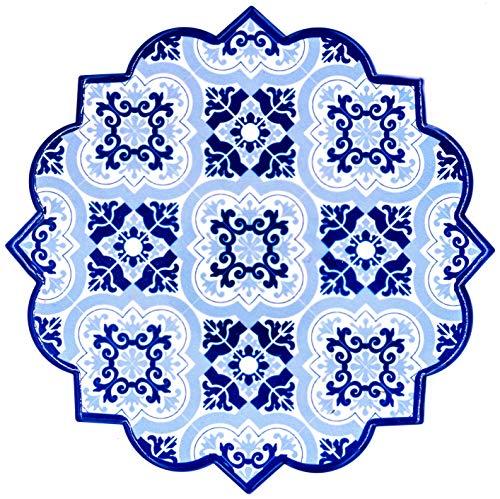 BOHORIA® Premium Design Keramik Topfuntersetzer - Dekorative Untersetzer für Vasen, Töpfe, Karaffen und Flaschen auf ihrem Esstisch aus Holz, Glas oder Stein (rund | 18cm) (Moroccan Mosaic) (Granada)