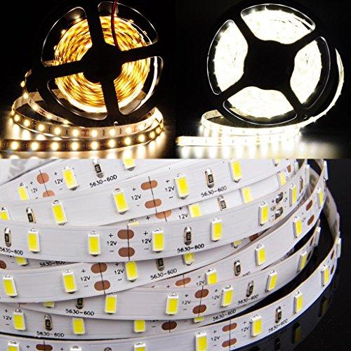 fenrad Alta Luminosità Striscia Luce 5m/300 LEDs SMD 5630 Bianco Caldo Impermeabile nastro striscia flessibile LED Light per Gardens, Case, Cucina, sotto l'armadietto, Acquari, Cars, Bar, Partito decorazione di DIY illuminazione, Christams Albero--Bianco Caldo