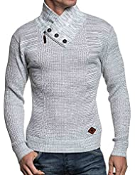 BLZ jeans - Pull homme maille blanche chinée col tendance