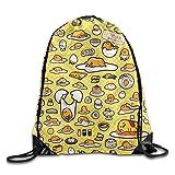 Icndpshorts Gudetama Drawstring Gym Sport Bag, Large Lightweight Gym Sackpack Backpack For Men and Women