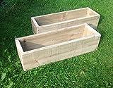 2x 60cm lungo (61cm) in legno Garden/patio/balcone fioriere: interamente assemblato–basta aggiungere piante: consegna veloce e gratuita