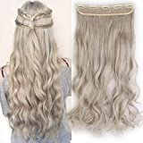 "24"" Extensions Cheveux Clips Monobande - Extension a Clips Cheveux Ondulé 60CM(24 pouces) - Clip in Hair Extensions Body Wave - Blond cendré/Gris argenté"