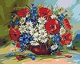 Wowdecor DIY Malen nach Zahlen Kits Geschenk für Erwachsene Kinder, Malen nach Zahlen Home Haus Dekor - Rote Mohn & Weiße Gänseblümchen Blumen Vergossen 40 x 50 cm ohne Rahmen