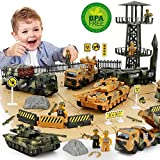 Military Vehicles And Army Battle Site Set With Storage Container, 6 Vehicles, Scout Tower, Missile Truck, Tank