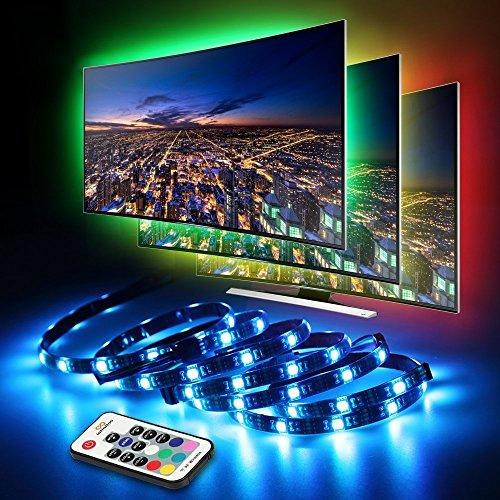 LED TV Hintergrundbeleuchtung, infinitoo LED Strip 4 * 50CM Set, Usb LED Streifen 5050 RGB mit Fernbedienung, LED TV Beleuchtung für 40-60 Zoll TV, Fernseher, PC-Monitor, Desktop, Tische (60 In Runde Tisch)
