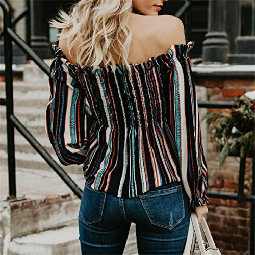 BlueSterCool T-Shirt Donna Maniche Lunghe Striped Blusa Senza Spalline Nero
