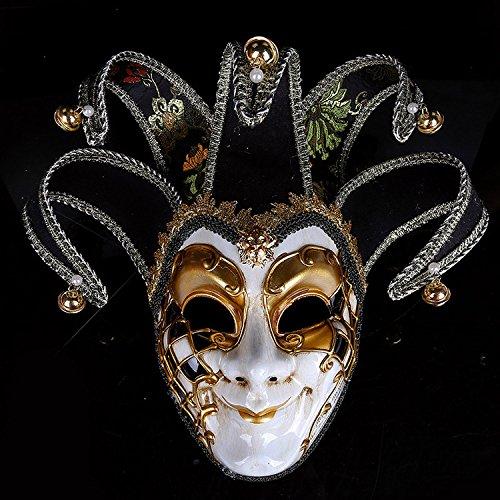 Kc-1981 K&C Kostüm Maske Halloween Masquerade Elegante Glitzer Augen Masken Joker Maske Schwarz (Joker Masquerade Halloween-kostüm)