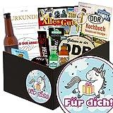 Für Dich (mit Einhorn) | Männer Set | Geschenk Ideen | Für Dich (mit Einhorn) | Männer Box | Einhorn Mädchen | Geschenk für Dich schokolade | GRATIS DDR Kochbuch