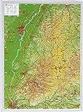 Schwarzwald klein 1:400.000 ohne Rahmen: Reliefkarte  Schwarzwald klein Din A3 (Tiefgezogenes Kunststoffrelief)