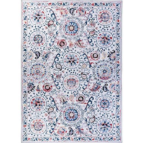 Dark Multi Teppich (Decomall Kalina Traditioneller Vintage Bohemian Distressed Abstrakter Teppich für Wohnzimmer Schlafzimmer 2.5' x 9' Runner 07 Dark Blue Multi)