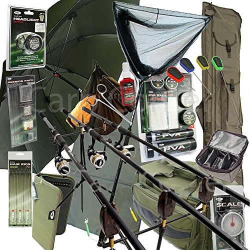 Deluxe-Complete-Full-Carp-Fishing-Set-up-With-Rods-Reels-Alarms-Tackle-Bait