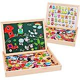 Uping Puzzle de Madera Magnético Tablero de Dibujo de Doble Cara Magnético 155 Piezas Avec Número y Alfabeto para niños de 3