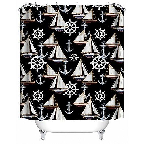 Liu gang tenda da doccia,cartone animato barca a vela e sfondo nero usanza tenda da doccia tessuto di poliestere bagno tenda impermeabile 48