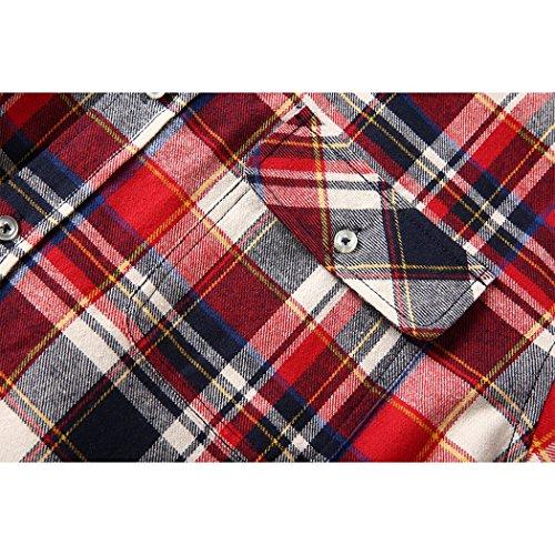 Mocotono Herren Langarm Kariertes Hemd Baumwolle Flanell Hemd mit Super Qualität Muti Plaid