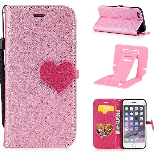 Custodia iPhone 6 plus 5.5,iphone 6S plus Cover in Pelle,Ekakashop Love Heart Fibbia Puro colore Griglia motivo Donna Ragazza Uomo Ragazzo Modello Design Portafoglio Tasca Book Folding Case Cover in  Rosa