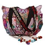 Beuteltasche Banjara Ethno und Boho-Flair Patchwork Tasche India Style Handarbeit (Flieder)