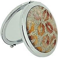 Specchio Compatto Doppio Specchio Compatto Argento placcato oro glitter e bronzo labbra Stampa sc1004