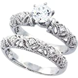 Double Accent Sterling Silver Wedding Ring Set, Round CZ Engagement Ring 2pcs Vintage Bridal Sets (Size 5 to 10)