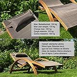 Ampel 24 Relax Liegestuhl Tropica | 100% wetterfeste Gartenliege | vorbehandeltes Holz | mit Armlehnen | Bezug braun - 5