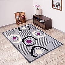 Alfombra De Salón Moderna – Color Gris Púrpura De Diseño Piedras – Suave – Fácil De Limpiar – Top Precio – Diferentes Dimensiones S-XXXL 120 x 170 cm