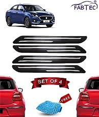 Fabtec Rubber Car Bumper Protector Guard with Double Chrome Strip for Car 4Pcs - Black (Maruti Swift Dzire)