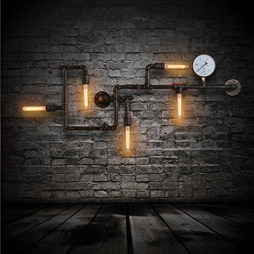 American Loft 5Köpfe Metall Tube Bar Zähler Wandleuchte Industrie Creative Korridor Bronze Metall Tube Wohnzimmer Wand Wandleuchte Esszimmer Kaffee Haus Wand Leuchten