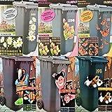 riya Mülltonnenaufkleber 6 Motive Aufkleber Mülleimer Sticker Fenster Wand (Tulpen)