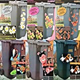 riya Mülltonnenaufkleber 6 Motive Aufkleber Mülleimer Sticker Fenster Wand (Blumen Margeriten)