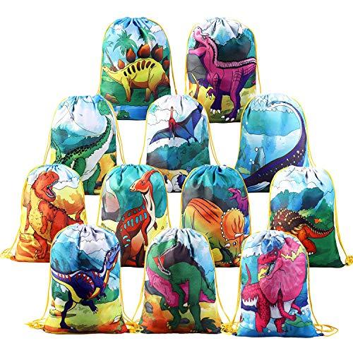 Beebeerun 12 pcs zaino con coulisse bambini dinosauro festa di compleanno borsa,sacche sportive sacchetto festa per regali bambini 3 4 5 6 anni