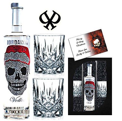 Geschenkset Weihnachten Wodka Luxus Designer Vodka Iordanov mit Kristallen X-mas Skull mit 2 edlen Skull Totenkopf Gläsern. Luxus Geschenk für Männer und Frauen Weihnachtsgeschenk der Extraklasse