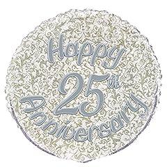 Idea Regalo - Unique Party 55527 Palloncino in Foil a Forma di Prisma Happy 25th Anniversary