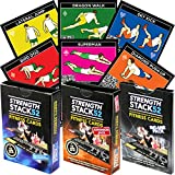 Exercise Cards Tri Pack: Strength Stack 52 Bodyweight Workout Playing Card Game. Designed by a Military Fitness Expert. Video Instructions Included. No Equipment Needed. At Home Training Program.