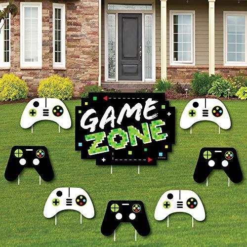 Big Dot of Happiness Game Zone - Yard Schild und Outdoor Rasen Dekoration - Pixel Videospiel Party oder Geburtstag Party Yard Schilder - Set von 8