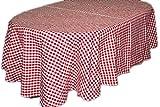 Pflegeleichte Tischdecke Decke Unterdecke Oval Rot Weiß Karierte Gartendecke Küchendecke Landhaus (Tischtuch 160x220 cm Oval)