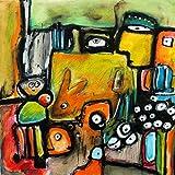 Verspieltes ★ Unikat mit Hase ★ Acrylbild voller verspielter Details von Etelka Kovacs-Koller, Leinwand auf Keilrahmen 50cm x 50cm