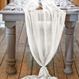 Socomi 10ft Ivory Chiffon Table Runner 29x120 Inches Romantic Wedding Runner Sheer Bridal Party Decorations