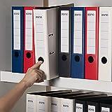 Amazon Brand – Eono Classeurs à levier A4 Plastique – avec dos de 75mm, pochette intérieure pour papiers, fermeture élastiqu