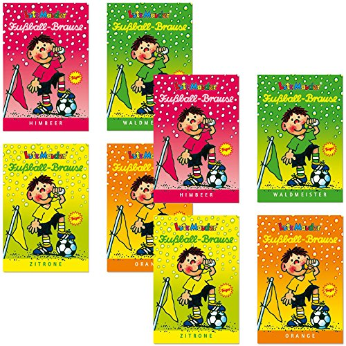 Preisvergleich Produktbild 8 x * FUSSBALL BRAUSE * Mitgebsel Fußball Kindergeburtstag Süßigkeiten mit 4 Geschmäcker Hersteller aus Deutschland Kinder lieben diese Ahoj-Brause