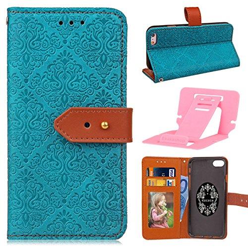 iphone 6 plus/6S plus Caso,iphone 6S plus di caso di vibrazione, copertura di cuoio della iphone 6 plus PU in Pelle, Ekakashop caso Verde Mandala Retro di vibrazione del modello della cassa del telefo A-Blu