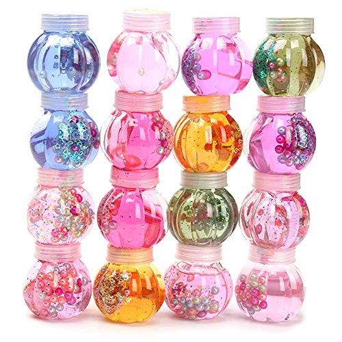 Bestomrogh Boue de Cristal Bricolage Bouteille de Citrouille Perle Cristal Transparent Gelée Colorée Boue Argile Légère Jouets éducatifs pour Enfants