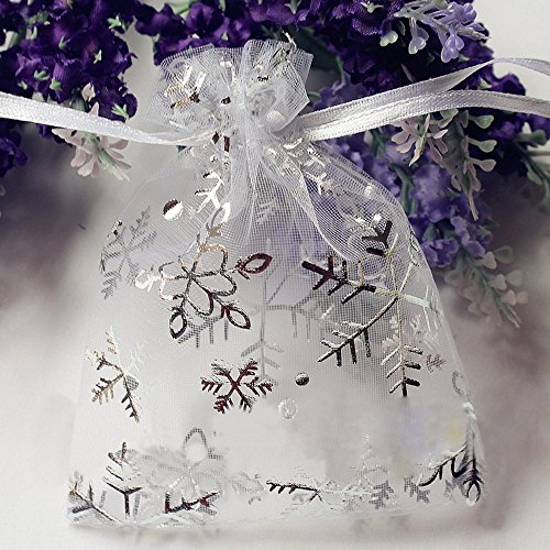 Omeny Flocon de neige avec cordon Cadeau Sac en organza (Blanc)