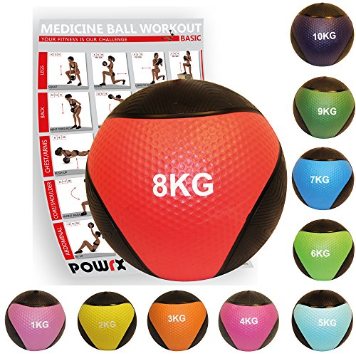POWRX - Balón medicinal + PDF Workout I Peso Wall Ball 1 - 10 kg Varios f14962ecf8b6