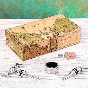 Mapa Viajes Caja de accesorios de vino de lujo, completa con abridor de botellas, de goteo collar, tapón para botella de corcho, tapón para botella de lujo. Idea de regalo fabulosa. Ideal para cumpleaños, Navidad o aniversario.