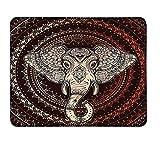 Ethnische Mauspad Orientalischer Elefantenkopf in Mandala Circle mit Linien Folk Totem Designspezifische Mauspad Maroon Beige