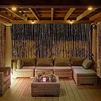 GreenClick 300 LED 8 Modes 9.84ft Width x 8.2ft Drop Window Curtain Icicle Lights String Fairy Lights Warm White Low Voltage Plug, Power Adapter Included for Wedding Party Garden Backdrops