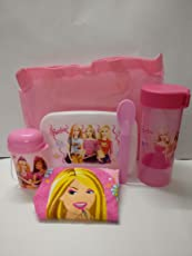 Shopkooky Barbie Printed Designer Attractive 6-Piece Lunchbox Set of Spoon, Lunch Box, Waterbottle, Handkerchief, Small Bottle and Carry Bag (Pink)